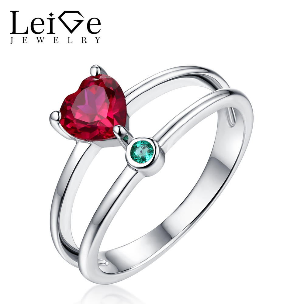 Leige Jewelry Red Heart Cut Ruby Engagement Ring Double Band Sterling Silver Snubní prsteny pro ženy July Birthstone
