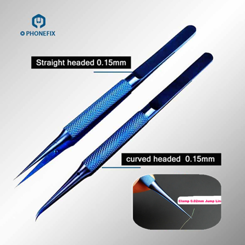PHONEFIX Precision Titanium Alloy Fly Line Fingerprint Repair Tweezers Copper Link Wire Repair Tool For Mobile Phone Repair