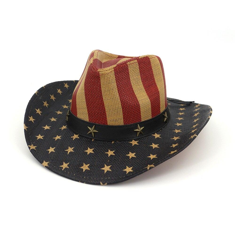 Men New PU Leather Classic American Flag Cowboy Hat Wide Brim USA Cowgirl Summer Cap Dropshipping