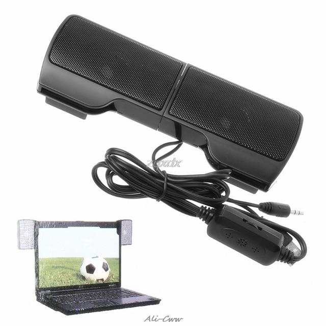 1 Paar Mini Draagbare Clip On Usb Stereo Luidsprekers Lijn Controller Soundbar Voor Laptop Notebook Mp3 Pc Computer Met clip