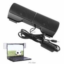1 çift Mini taşınabilir Clip on USB Stereo hoparlörler hattı denetleyicisi Soundbar Laptop Notebook için Mp3 pc bilgisayar ile klip