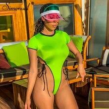 цены на Simenual Sexy Casual Bandage Bodysuit Short Sleeve Bodycon Rompers Womens Jumpsuit One Piece Patchwork Summer Bodysuit Fashion  в интернет-магазинах