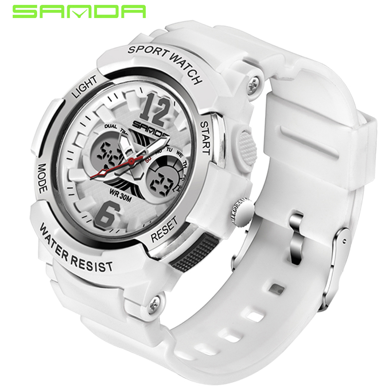SANDA Sport Women Watches Digital White Ladies Quartz Fashion Relogio LED Gold Montre title=