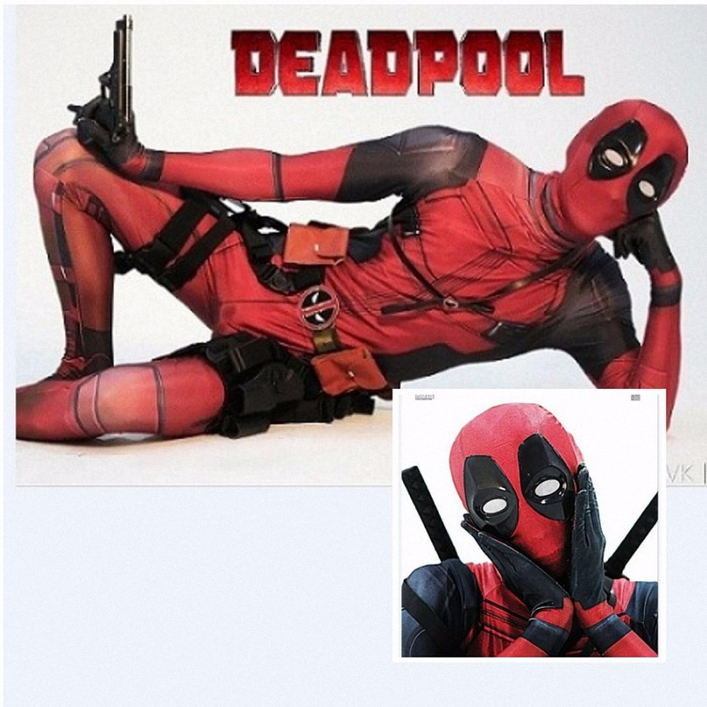 HOT Avengers Halloween Lycra Spandex Full Body Adult Deadpool Cosplay Costume Men Second Skin Tights Suit Lycra Zentai Bodysuit