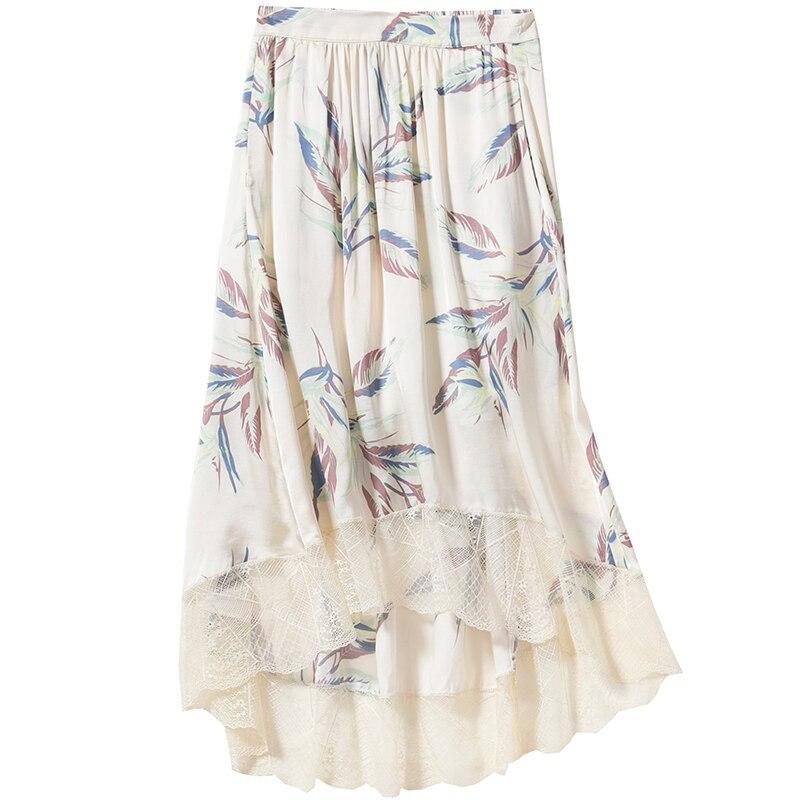Joslin الجنة تنورة iris الأزهار طباعة ميدي تنورة زنار مطاطا الرباط تريم مزين أزياء المرأة التنانير-في تنورة من ملابس نسائية على  مجموعة 1