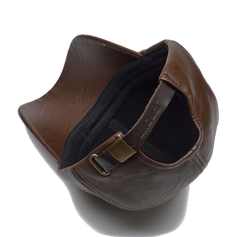 [NORTHWOOD] New High Quality Winter Cap PU Leather Baseball Cap Men Snapback Hat Casquette Gorras Para Hombre Mens Trucker Cap 3