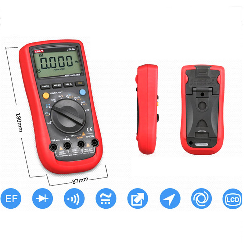 Фотография UNI-T UT61E lcd digital multimeter true rms multimeter auto range AC/DC current resistance test RS-232 lcd backlight multimeter