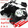 CREE XM-L T6 LED Headlamp +Warm White / Yellow Light Lamp Rechargeable Hiking Headlight + Car Charger + AC Charger + 2 * Battery