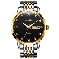 JINSHIDUN Men Business Luxury Mechanical Watches Steel/Leather Belt Top Brand Waterproof Watches Relogio Masculino 8817