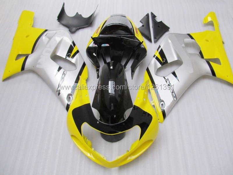Желтый Серебряный обтекатель для SUZUKI 2001 2003 GSXR600 750 01 02 03 GSXR600 GSXR750 K1 01 02 03 GSXR 600 750 Обтекатели наборы