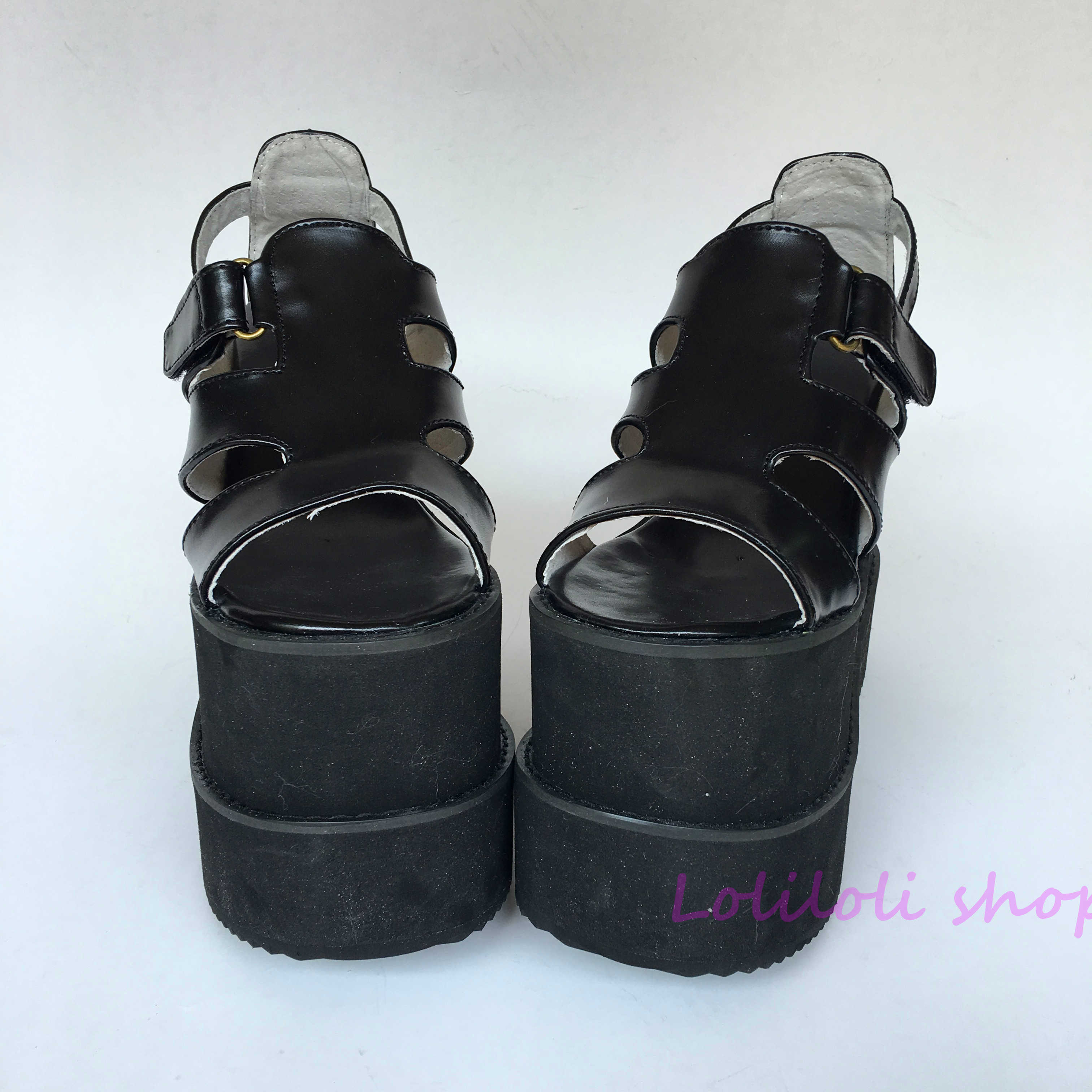 Princess sweet black lolita shose Lolilloliyoyo antaina gothic lolita shoes Muffin slippers sandals Drawstring Customized 5130