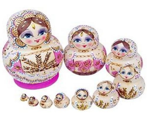 10Pcs Pink Wooden Russian Nesting Dolls Matryoshka Handmade Stacking Gift Toys