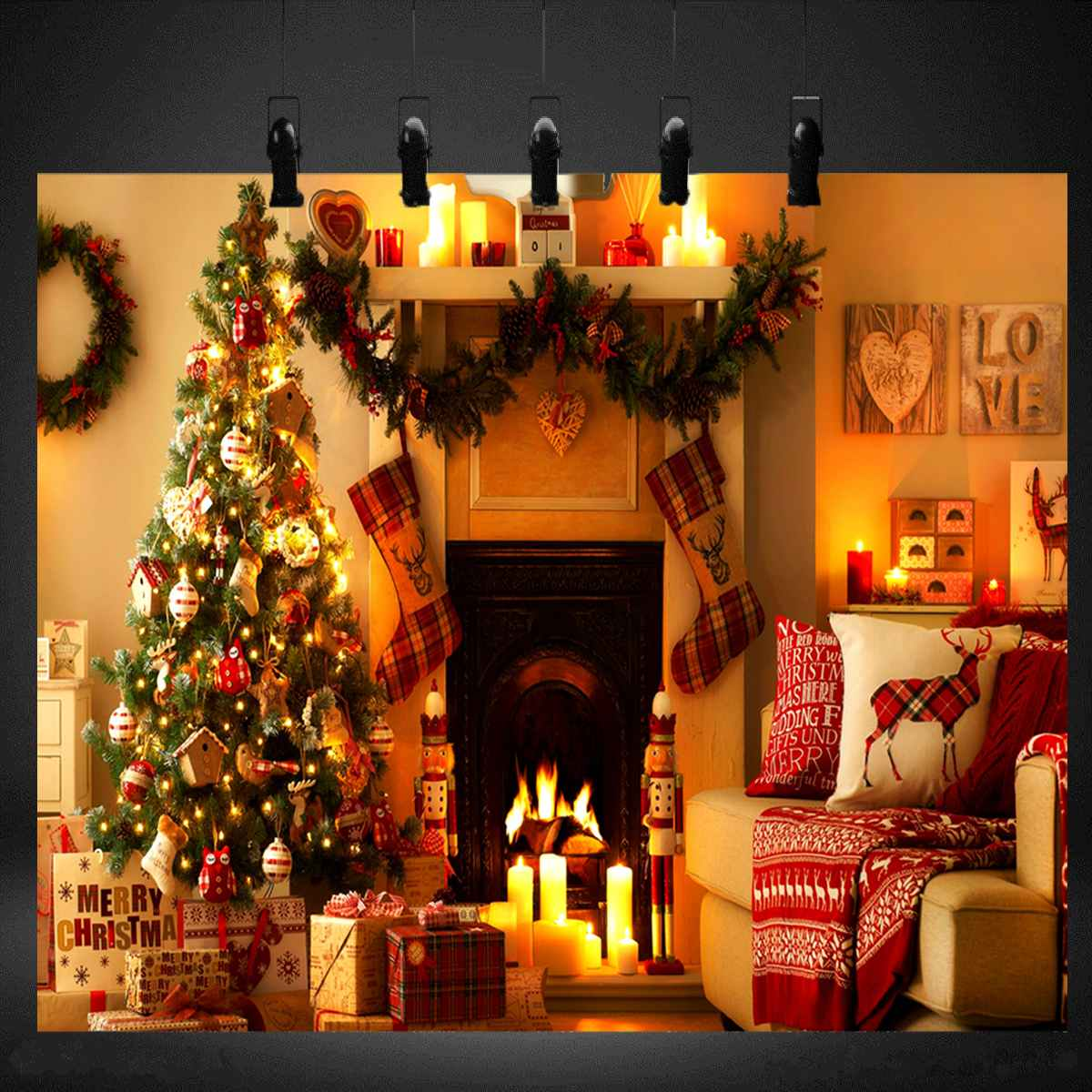 Freya 8x8FT Photo Backdrops Christmas Tree Fireplace Stocking Photography Background for Photo Studio 2018 New Arrival(China)