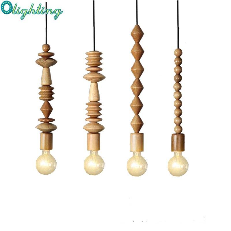 LOFT Modern Fashion Simple Creative Oak Wooden Pendant Lights For Bedroom Balcony Aisle Lamp Puzzle Lamp DIY Handmade Artcraft bamboo bedroom pendant lights balcony