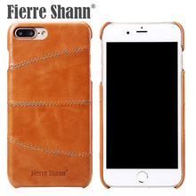 FIERRE SHANN Cow leather Phone Bag Cases For iPhone 6 6s 7 8 Plus Precise Hole Mobile Case For iPhone 7 plus 8 plus Cover case