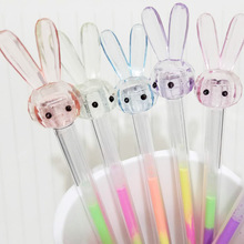 48pcs Gel Pens Cartoon Rabbit Head Black Colored Gift Gel-ink for Writing Cute Stationery Office School Supplies
