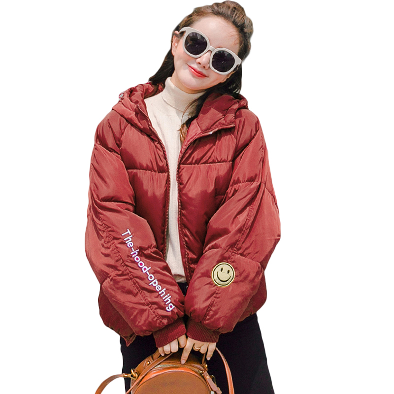 Girls Sweet 2018 Winter Warm Bread Jacket High Quality Women Smiling Face With Hooded Letter Printed Winter Coat   Parkas   D0616