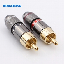 Free shipping High quality gold plating RCA connector RCA male plug support 6mm cable 4pcs/lot