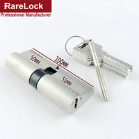 Rarelock Christmas Supplies Brass Door Lock Cylinder 100mm Double Opening Euro Profile Mortise with 5 Computer Keys a
