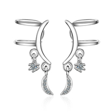 Everoyal New Fashion Lady Silver 925 Clip Earrings Jewelry Women Zircon Moon Star For Girls Accessories Female