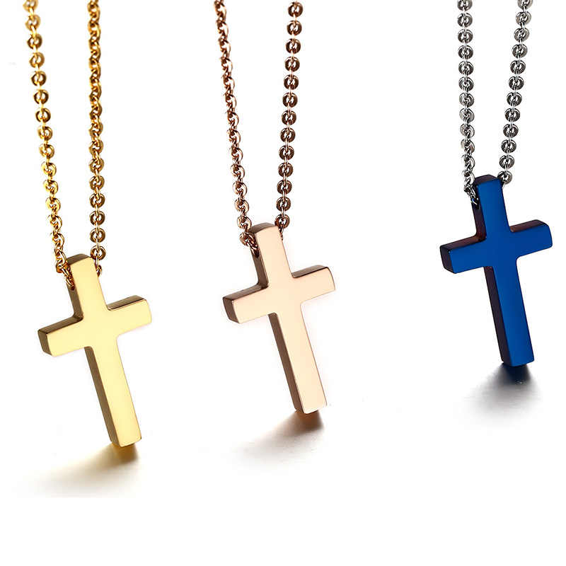 Stainless Steel Medium Gold Rose Gold Blue Simple Cross Pendant Necklace for Men Boy Baptism Free Cable Chain