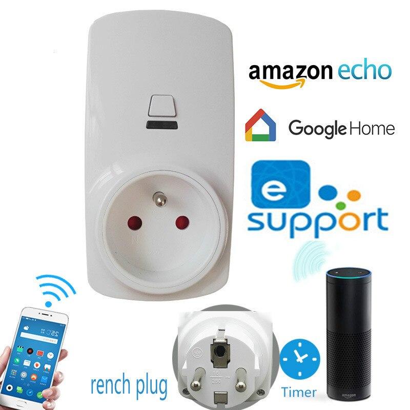 цена на Alexa Home Furnishing Intelligence Socket European regulations WIFI Wireless remote control timer switch French European