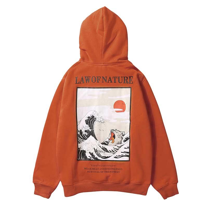 Aolamegs Hoodies Men Japanese Funny Cat Wave Hooded High Street Thick Pullover Sweatshirt Men Fleece Fashion Hip Hop Streetwear