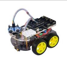 Избегание слежения двигатель умный робот шасси автомобиля Комплект Скорость кодер батарея 2WD 4WD Ультразвуковой модуль для Arduino