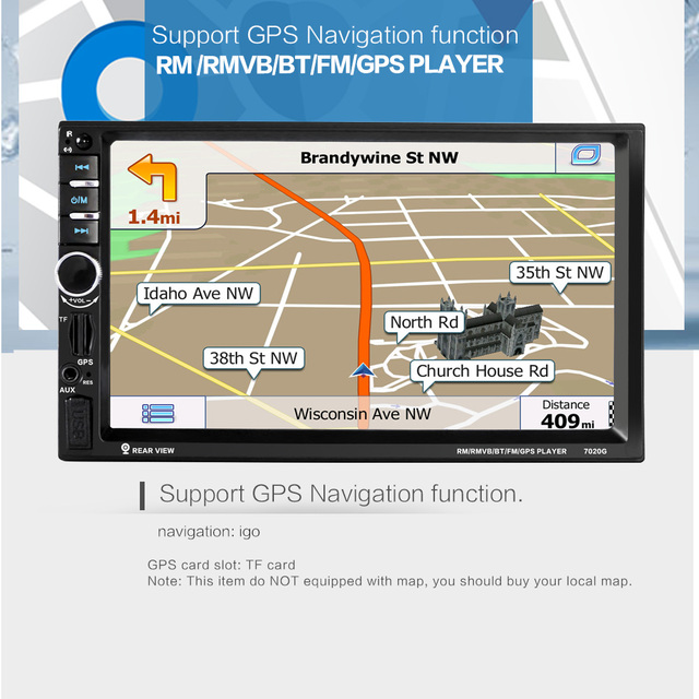 2 DIN Car Radio/GPS/MP4/MP3/mp5/usb/sd/reproductor de Manos Libres Bluetooth Retrovisor después de la pantalla Táctil de hd sistema de NAVEGACIÓN