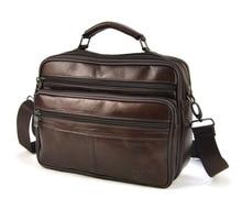 Echtes Leder Männlichen Handtaschen Echt Rindsleder Casual Männer Messenger Bags Satchel Schulter Umhängetasche Klassische 5 Reißverschluss Geldbörse