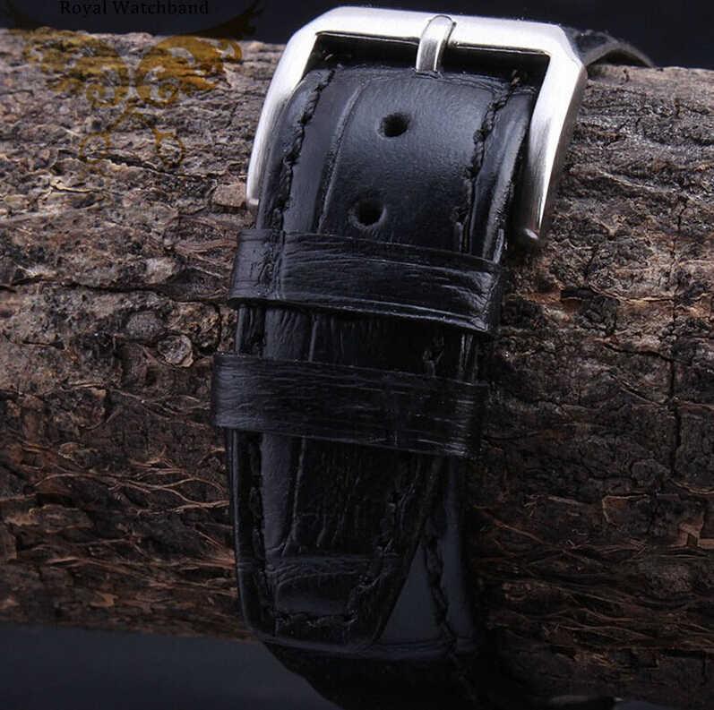 جديد وصول 20 ملليمتر 21 ملليمتر 22 ملليمتر 1 قطع الأسود التمساح نمط جلد طبيعي حزام (استيك) ساعة سوار الفضة نشر الصلب مشبك قفل