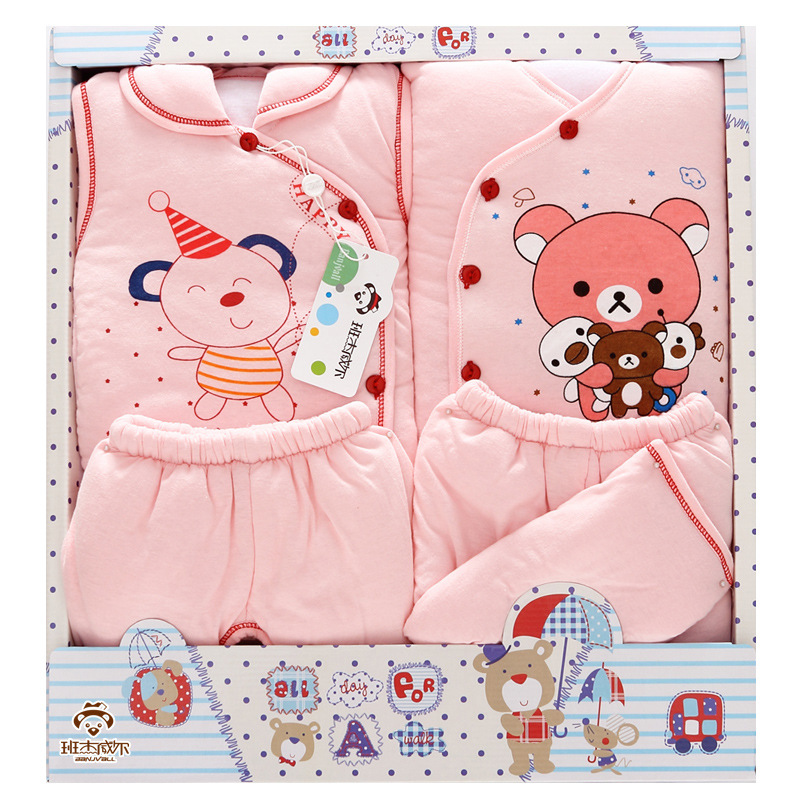Thickening Cotton Baby Set Newborn Baby Gift Autumn and Winter Clothes Baby Boys and Girls Cotton Coat Baby Full Moon Gift cotton baby rompers set newborn clothes baby clothing boys girls cartoon jumpsuits long sleeve overalls coveralls autumn winter