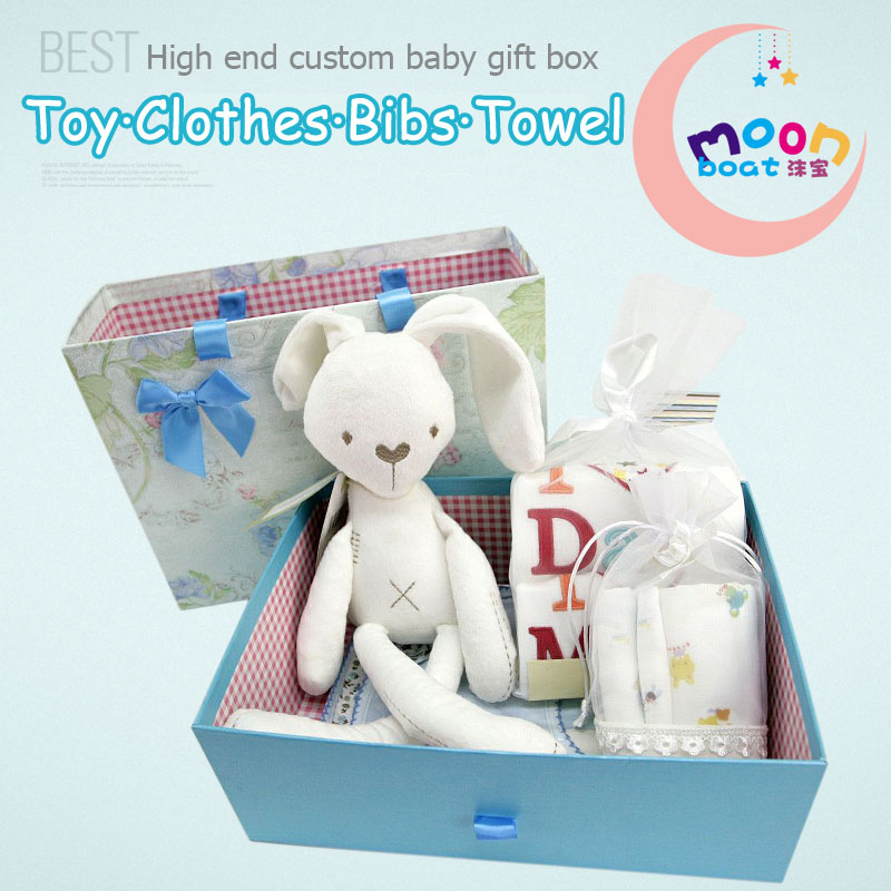 ФОТО 2017New Hot Sale 8Pieces Baby Set Rabbit Doll Comfort Toy 2Pcs Romper Baby Towels Gift Newborn Infant Birthday Full-moon Gift