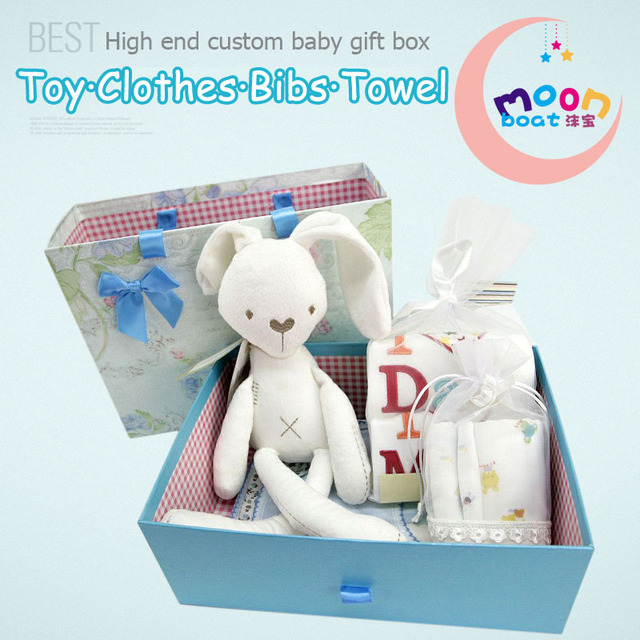 2017New Hot Sale 8Pieces Baby Set Rabbit Doll Comfort Toy 2Pcs Romper Baby Towels Gift Newborn Infant Birthday Full-moon Gift