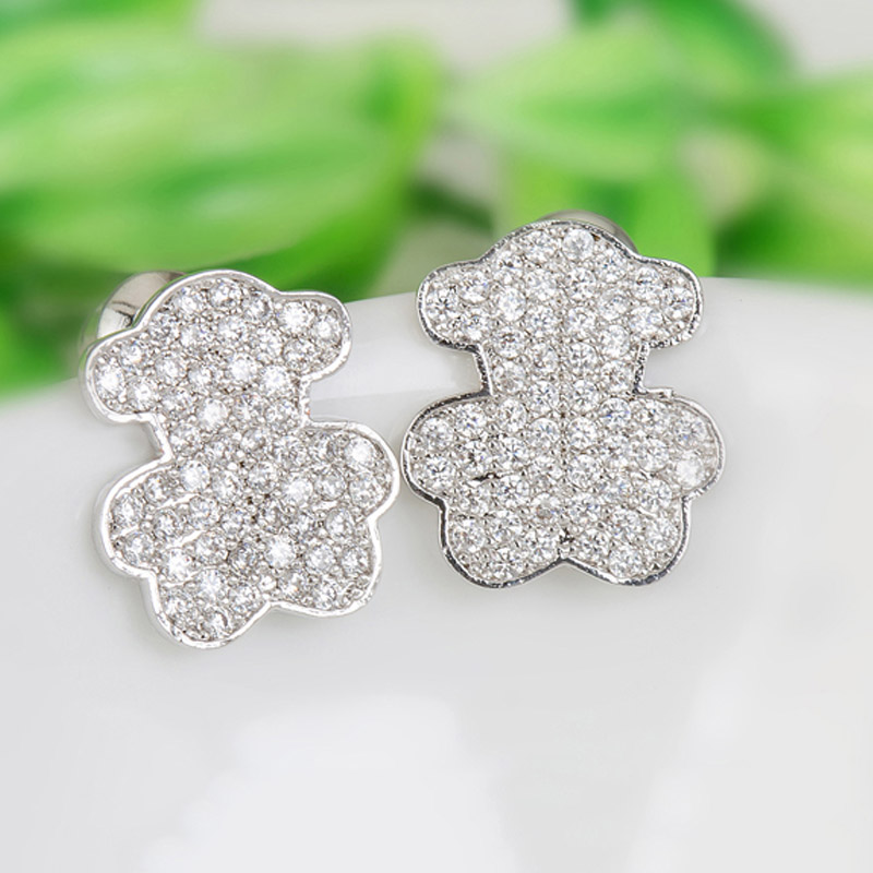 GULICX Lovely Cute Bear Earrings Tiny Cubic Zirconia Fancy Fashion Cute Stud Earrings for Women Dress Party Accessories