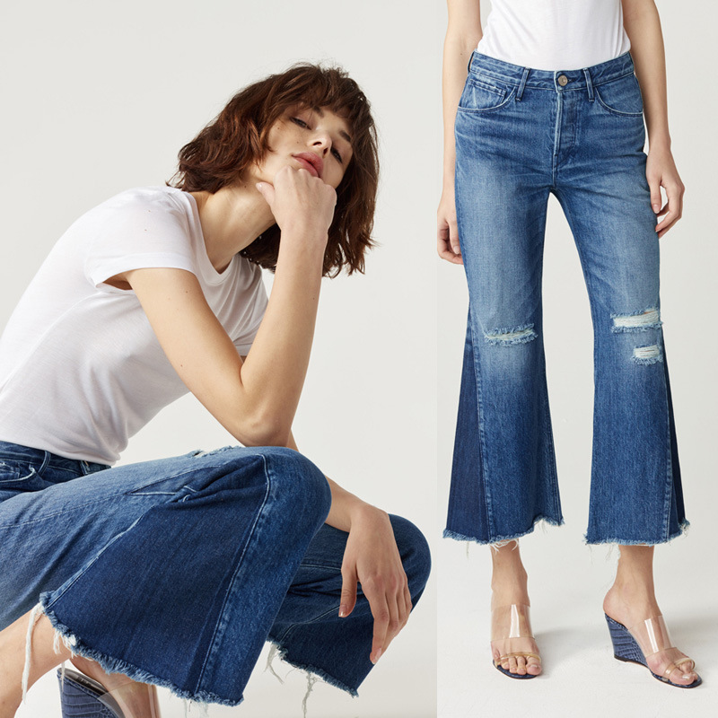 Fashion Woman's Jeans Flare Pants for Women Pure Cotton Washed Blue High Waist Ankle Length Denim Casual Ripped Edging Jeans spring new fashion cotton jeans women loose high waist washed vintage big hole ripped ankle length denim straight pants mz1535