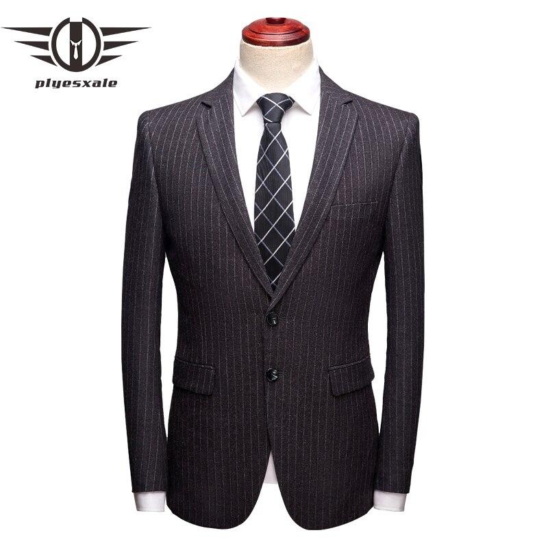 Dark Grey Striped Blazer Men 2019 Spring Autumn Mens Dress Blazers High Quality Formal Blazer For Man Casual Suit Jacket Q17