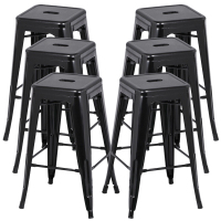 HOT GCZW 6Pcs Metal Vintage Counter Bar Stools Industrial Breakfast Bar Cafe Bistro Black