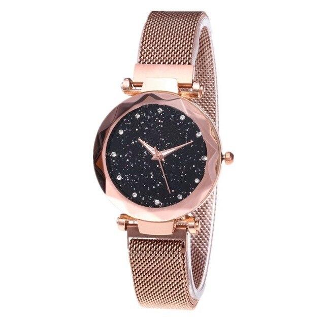 36992480dec Nova Marca Rosa de Ouro de Malha Ímã Fivela Céu Estrelado Relógio De Quartzo  Das Mulheres Relógios Casuais Relogio feminino Senhoras Relógio de Pulso  Quente ...