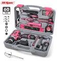 Hi-Spec 60 шт. розовый набор ручных инструментов 12 В Электрическая отвертка литий-ионная батарея для девушек и женщин бытовой набор электроинст...