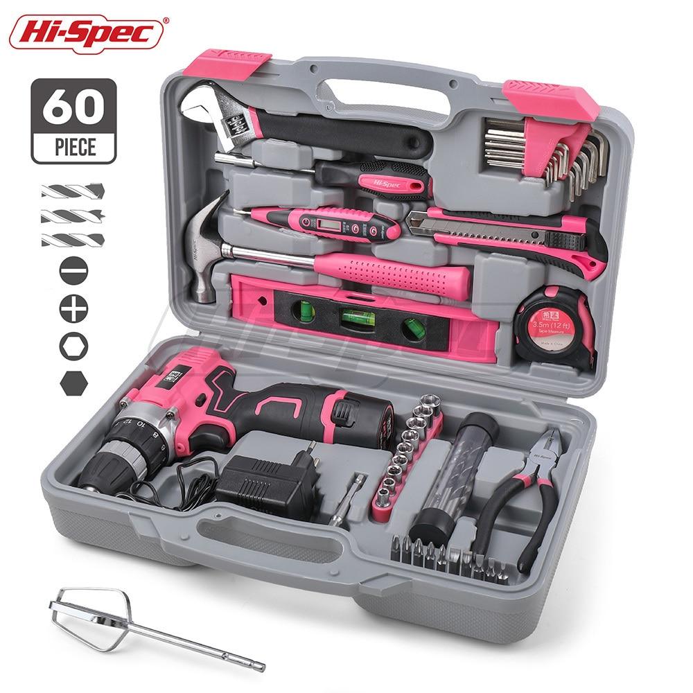 Kit de 60 piezas Hi-Spec, juego de herramientas de mano rosa, destornillador eléctrico de 12 V, batería de ion de litio, juego de herramientas eléctricas para el hogar para mujer