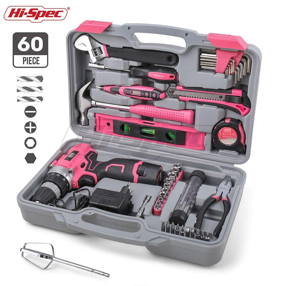 Oi-especs 60 peças conjunto de ferramentas de mão rosa kit 12 v elétrica chave de fenda li-ion bateria gril senhora feminino conjunto de ferramentas elétricas do agregado familiar