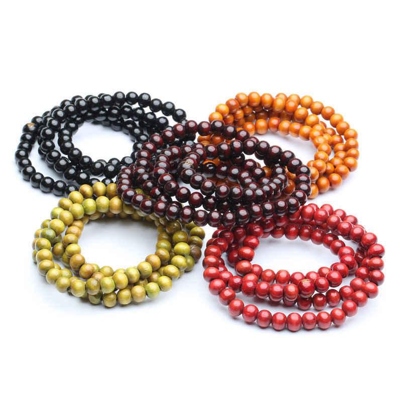 Тибетский буддизм 108 деревянная Будда для молитвы резная бусина Мала ожерелье