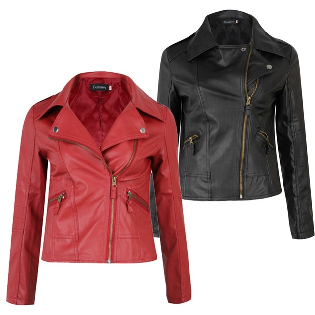 S-3XL Fashion New Female Slim PU Leather Motorcycle Jacket Women Coat Short Jacket Red/Black