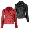 S-3XL Moda Nueva Mujer Delgada de LA PU Chaqueta de Cuero de La Motocicleta Capa de Las Mujeres Chaqueta Corta de Color Rojo/Negro