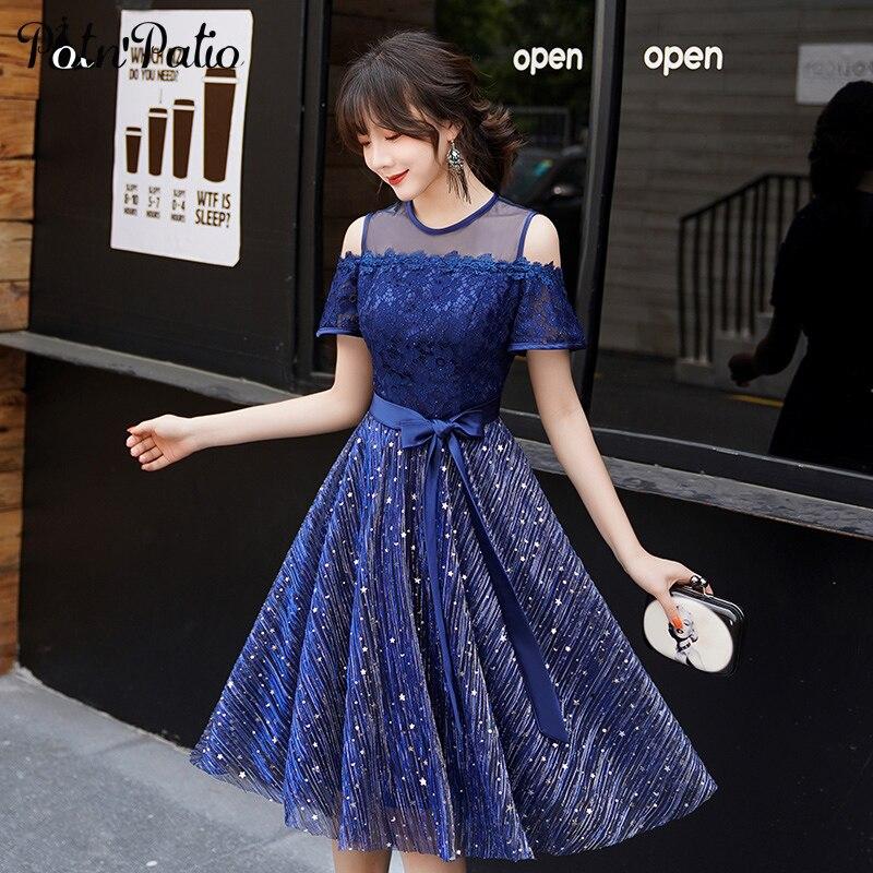 Navy Blue Junior Short Prom Dresses 2019 Elegant Modest O neck Off The Shoulder Sequined Homecoming Dresses Brithday Party Dress in Prom Dresses from Weddings Events
