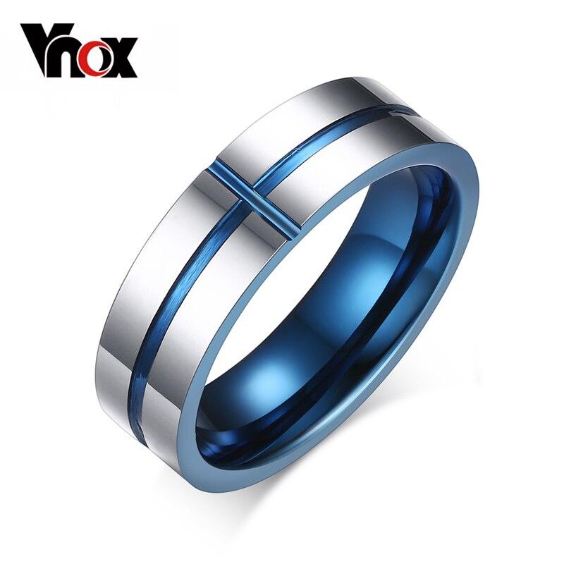 Prix pour Vnox 2016 nouveau 100% tungsten carbure anneaux 6mm bandes de mariage hommes bijoux croix de conception