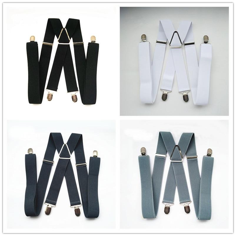 Одноцветные подтяжки унисекс для взрослых, мужские XXL, большие размеры, 3,5 см, ширина, регулируемые эластичные, 4 зажима X сзади, женские брюки, подтяжки, BD054
