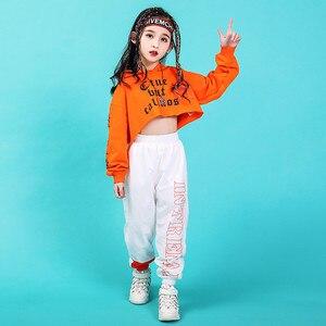 Image 4 - Джазовые танцевальные костюмы, хип хоп детский топ с длинным рукавом и капюшоном, штаны для девочек, одежда в стиле хип хоп, одежда для уличных танцев, сценических шоу