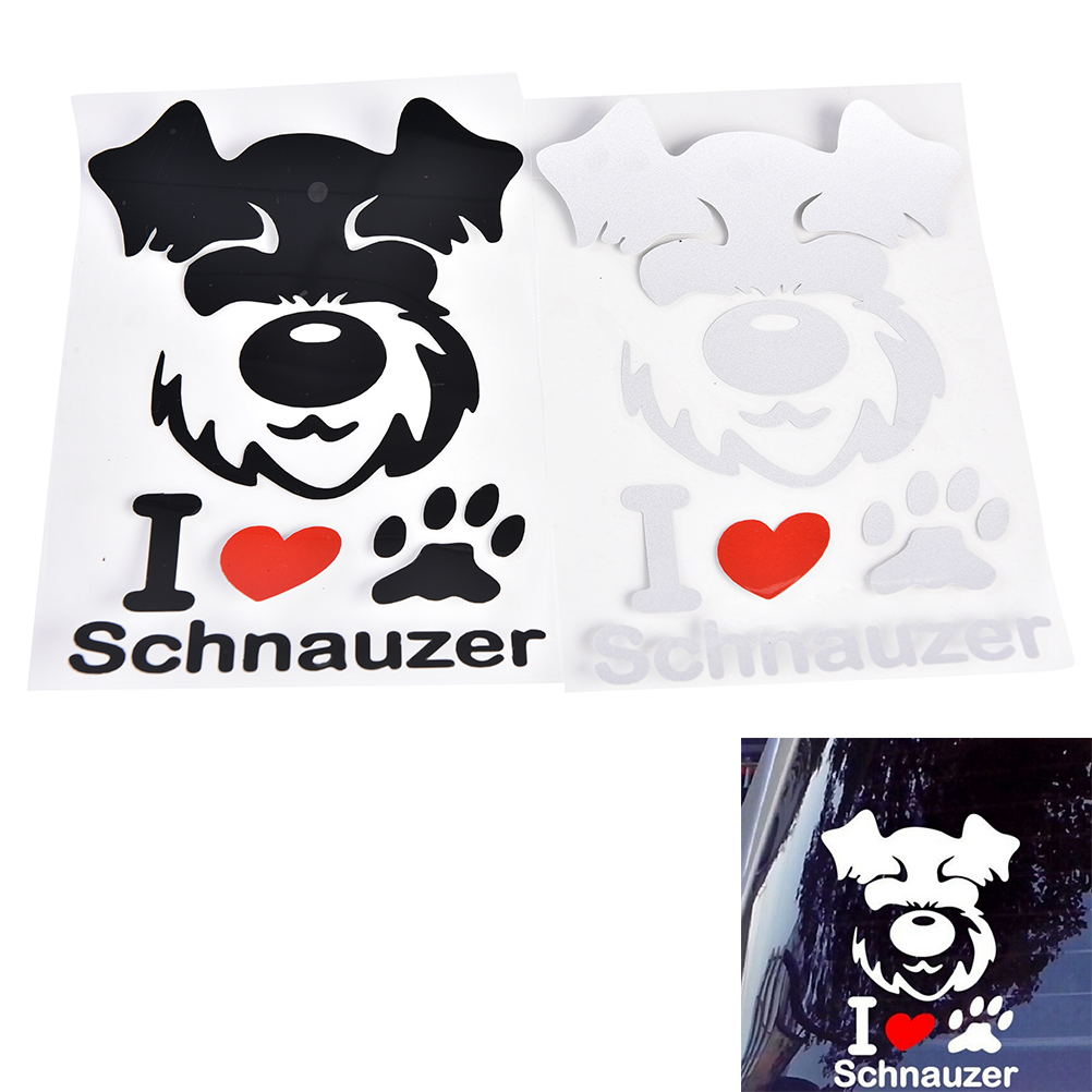 Black White 1PC Car Stickers Pet Schnauzer Cute Animal Pattern Personalized Sticker Car Styling  standard schnauzer